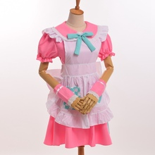 Cute Girls Pink Maid Dress Anime Cosplay Fancy Bow Dress with White Apron