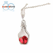 SUSENSTONE Fashion Love Drift Bottles Pendant Necklace Heart Crystal Pendant Necklace for women Vintage Jewelry Collares Mujer