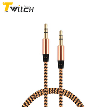 Twitch 3.5mm jack aux Cable for iPhone 6 Samsung mp3 3.5 mm Car Audio Cable wire Colorful Nylon Headphone Beats Speaker AUX Cord