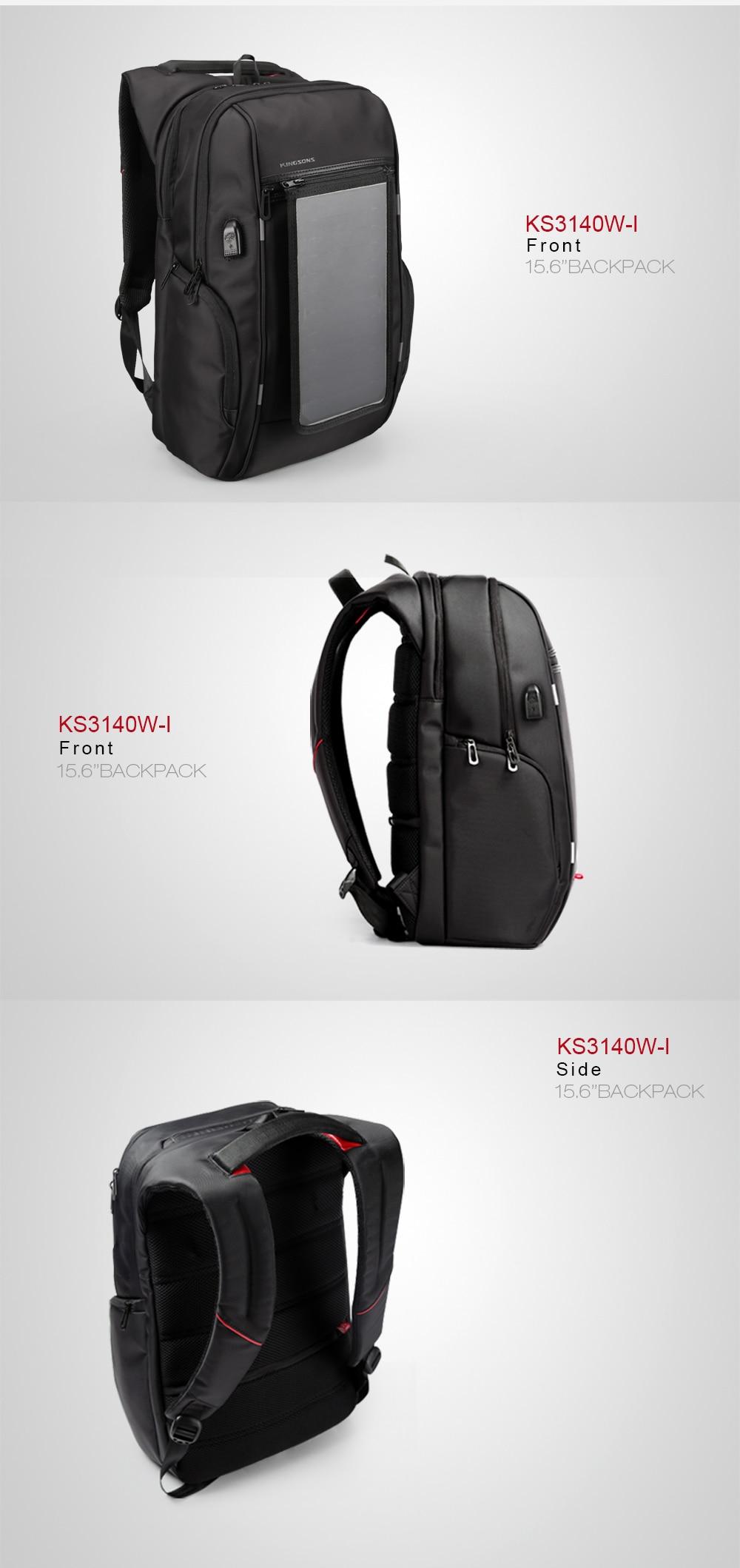2017 Kingsons New Summer Mochila Solar Power Charger Backpack for Men Convenient Travel Daypack Waterproof Nylon 15″ Laptop Bag