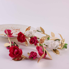 1PC 2017 Fashion Lovely Girl Boy Rose Flower Wreath Gold Crown Headband Floral Garlands Hairband Headdress Hair Accessories