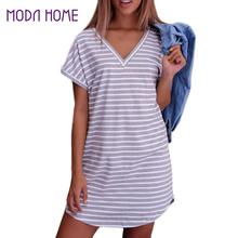 Women Casual Summer Dress 2017 Short Sleeve V Neck Bodycon Dress Striped Side Split T Shirt Dress Women's Slim Fit Beach Dresses(China)