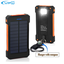 YFW Solar Charger Power Bank Battery 10000mAh Waterproof Charging Dual USB with LED Flashlight with Compass for CellPhones(China)