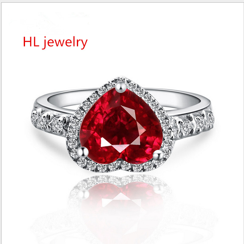 2.15ct 8x8mm Synthesis Red Corundum Heart 925 sterling silver Jewelry Red Corundum Rings For Women