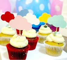 30pcs Mixed Colors Rainbow Toppers CupCake Picks Decor Lovely Cloud Shape for Wedding Birthday Event Party Supplies Favors