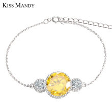 KISS MANDY Link And Chain Charm Bracelet with Yellow And Clear Zirconia Eternity Woman's Bracelet Hot Sale LB32