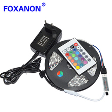 Foxanon Brand 5050 RGB Led Strip 5M 60pcs/M 300LED Flexible Light + 12V 2A 24W Power Adapter + 24Key Remote Controller lamps(China)