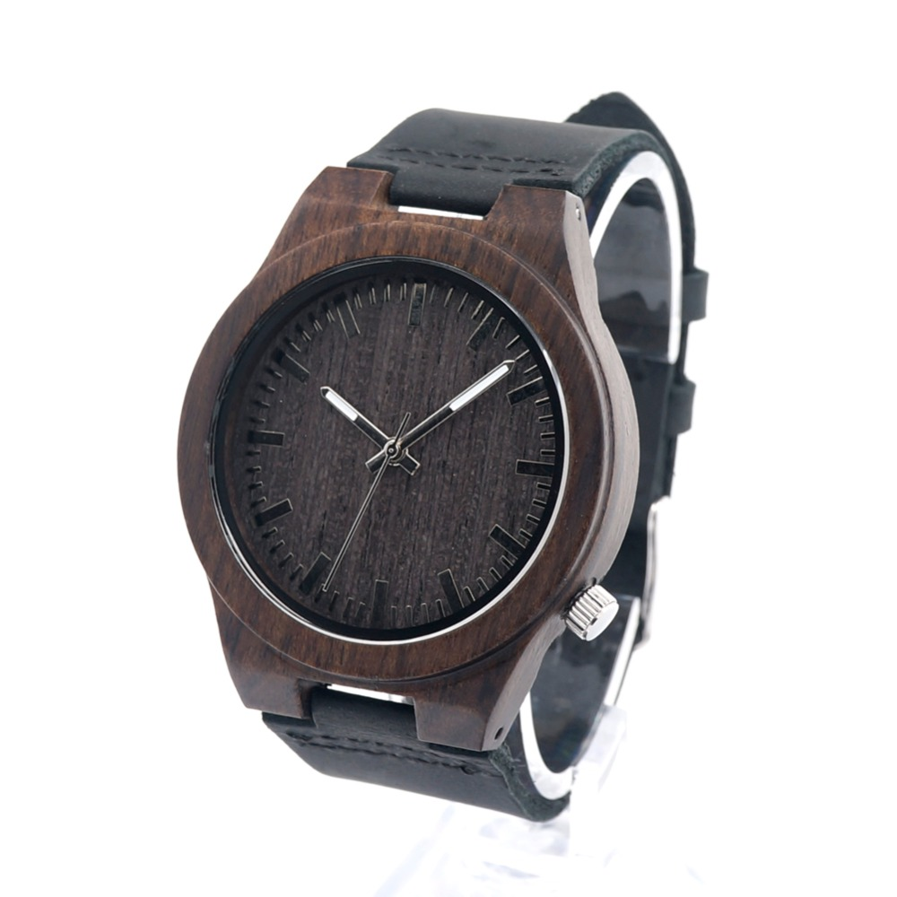 Bobo Bird brand genuine leather Ebony Wooden Bamboo Watches Japanese Quartz Movement men Watch Relogio Masculino relojes D12<br><br>Aliexpress