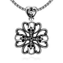 Hot sale 925 pure sterling silver jewelry Skull flower pendant necklace send boyfriend fashion party factory direct sales YN030(China)