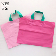 Pink Plastic Gift Bag Wedding Favor Fashion Shopping Mall Grocery Store Candy Packaging Bags Green Free shipping