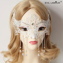 Sexy Chrystal Fringe Venice Mask Deluxe Princess White Lace Mask Best Lover Gift 3pcs/lot Fashion Cos Party Accessories MJ-12