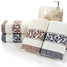 1Pcs Hot Weak twist Blue and white jacquard towel 100 grams of thick cotton towel Super absorbent Bathroom Supplies 7z-cx325