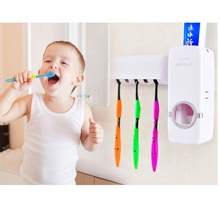 White & Red Plastic Automatic toothpaste dispenser toothbrush holder Wall Suction Holder Bathroom Sets