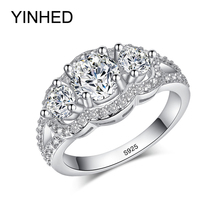 90% Off !! YINHED 100% 925 Sterling Silver Wedding Rings for Women Top Quality Cubic Zirconia Engagement Ring CZ Jewelry ZR091(China)