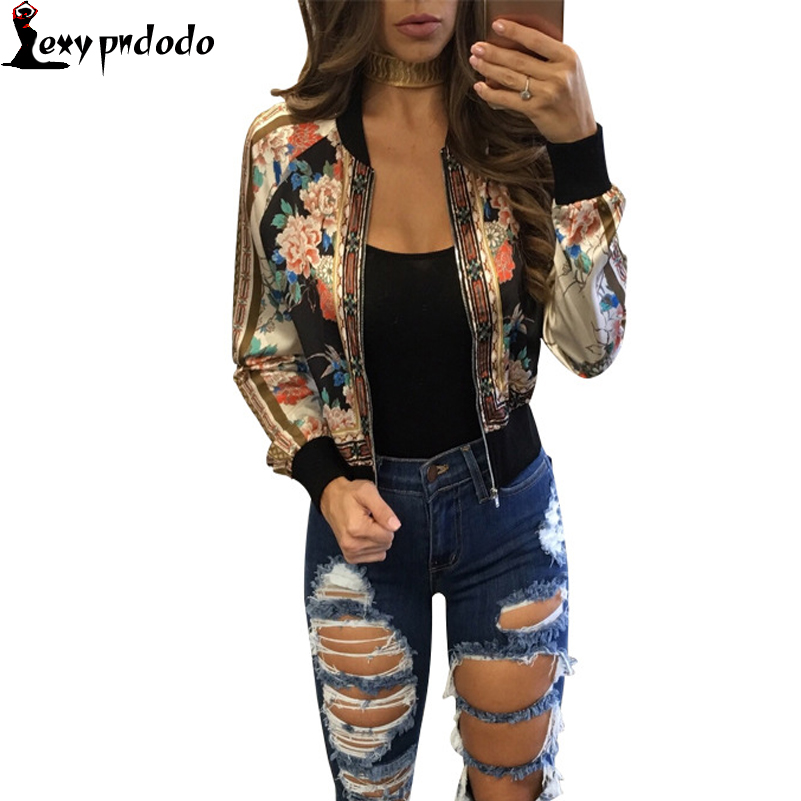 Fashion 2016 New Autumn Winter Embroidery Jacket Flowers Print Loose Wide-Waisted Rib Bomber Jacket Coat Women Chaqueta mujer US