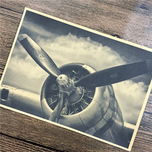Retro World War II fighter Airplane propeller Movie posters vintage print Paper Paint Wall HD Crafts Sticker 42x30cm OSP-B035(China)