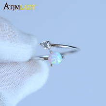 high quality AAA+ CUBIC ZIRCONIA white fire opal stone silver gold color Adjust open women ladies finger thin delicate ring(China)