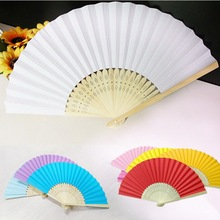 Chinese Hand Paper Fans Pocket Folding Bamboo Fan Solid Color 7 inch Simple Style For Wedding Party Fit Elegant Lady(China)