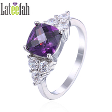Lateefah Fashion Cushion Cut CZ Birthstone Rings for Women Purple Cubic Zirconia Engagement Promise Female Ring Gift Anel Bague