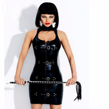 Buy Gothic Wetlook Dress Latex Rubber Buckle Dress Keyhole Bust Zipper Black PVC Sexy Faux Leather Cupless Vinyl Club Fetish Dresses