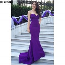 Evening Dresses Mermaid Sweetheart Sleeveless Zipper Sweep Train Satin Evening Gowns Purple Perfect Sexy Custom Made