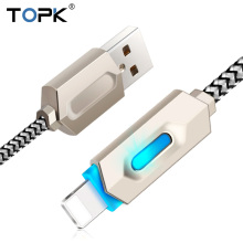 Topk Intelligent LED Zinc Alloy Casing Stripe Nylon Braided 2.1A Fast Charging & Data Sync USB Cable for iPhone 7 6 6s 5 5s iPad