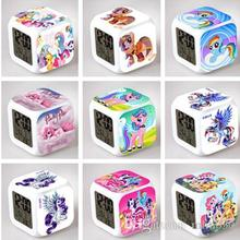 NEW My Little Pony Desk Table Clocks 7 Colorful Flash Touch Lights Cartoon Kids Toys Action Figure Digital Alarm Clocks Style