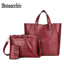 Bonsacchic 3pcs Burgundy Women Bag Handbags Luxury Designer Casual Tote Bag Small Crossbody Bags for Women Card Holder Crocodile(China)