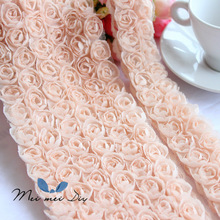 5Yard/lot Handmade jewelry material cloth DIY mobile phone shell Beauty Rose Flower Lace trim Chiffon double 3D lace fabric
