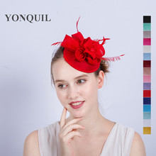 Hot sale Red fascinator hat base fascinator headband on hair clips fancy feather headpiece women church cocktail dance SYF144(China)