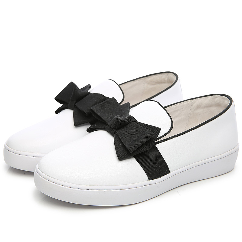 2017 autumn a han edition leather shoes leather loafers bowknot flat small white flat shoes<br><br>Aliexpress