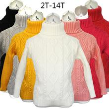2015 winter big SIZE 2T-14T sweater boy girl child knitted sweater pure color baby turtleneck sweater children outerwear
