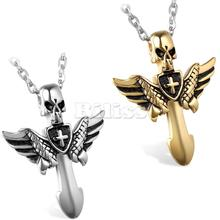 Fashion Men Jewelry Stainless Steel Angel Wings Cross Skull Pendant Chain 22 inches for Men Boys Gift colar masculino