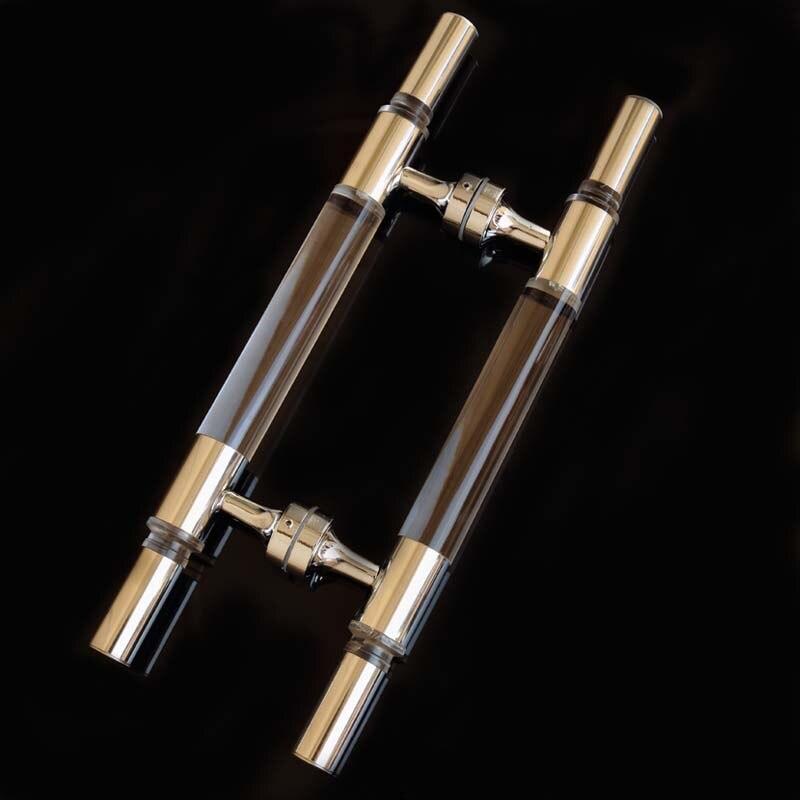 400mm modern simple fashion glass door handles clear crystal stainless steel KTV hotel home bathroom door handles<br><br>Aliexpress