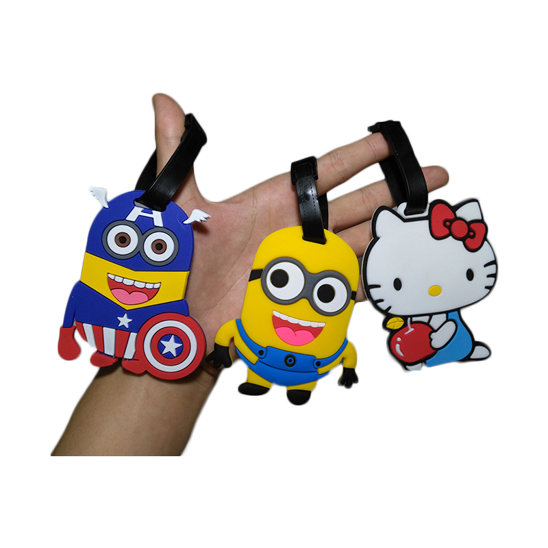 Travel Accessories Luggage Tag Suitcase Cartoon Style Cute Minions Silicone Tags Portable Travel Label Bag Tag Obag Accessories (22)