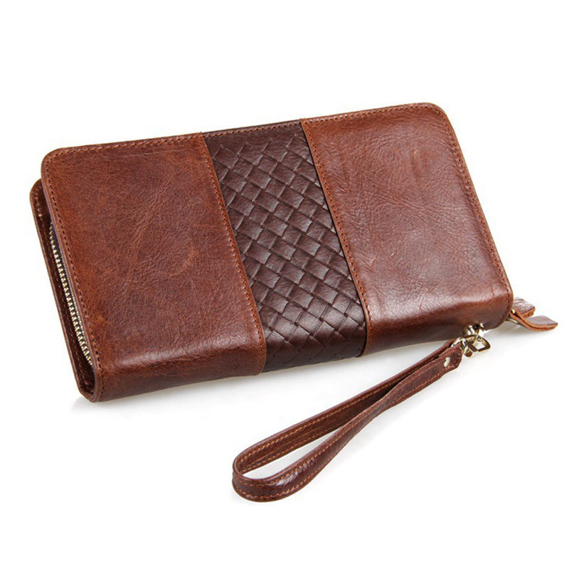 Genuine Leather Double Zipper Compartments Big Capacity Cowhide Male Clutch Wallets Men Hand Take Bag Man Long Purse PR088070<br>