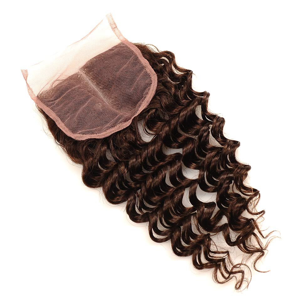 Brown #4 Brazilian Deep Wave Hair 3 Bundles With Closure Deal Pinshair Human Hair Weave Bundle With Middle Part Closure Non Remy (81)