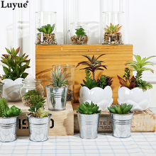 Luyue Official Store Mini Artificial Succulent Plant Potting Office Decoration Flower Combination Handwork Made 15 Style
