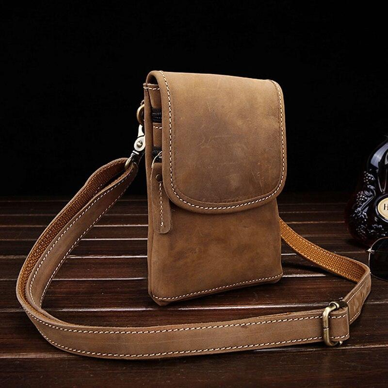 Vintage mannen kleine messenger bags 100% Echt Crazy Horse Lederen Casual taille pack schoudertas fanny riem tas<br><br>Aliexpress