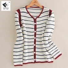 SHD081 Women New black and white striped red pearl button hand knit cardigan sweater