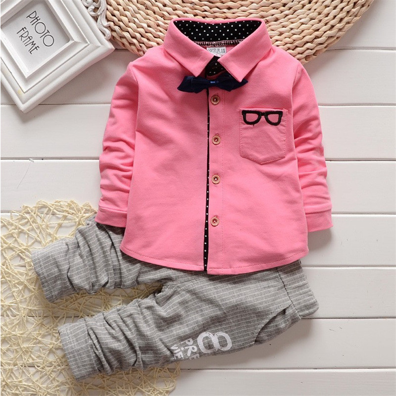 Hot Sale 2016 New Boys Handsome Buckle Bow Tie Cartoon Glasses Shirt Fine Suits Long-sleeve Long Pants Baby Boy Clothes 4 Colors<br><br>Aliexpress