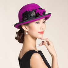 100% Australian Wool Winter Hat For Women Elegant Floppy Flower Feather Bucket Hat Vintage Purple Red Ladies Casual Cloche Hats(China)