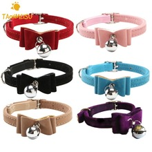 Quick release dot & cat collar kitten velvet bow tie safety elastic free post 6 colours bowtie with bell 2016 pet supplier(China)