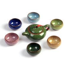 7 ice crack ceramic tea pot kung fu tea set a full set of tea manufacturers chinese teapot set(China)