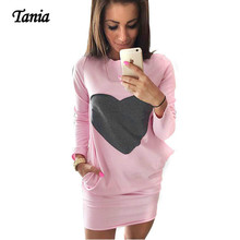 2017 Cute Heart Pattern Design Sweatshirts Autumn Dress Women Clothes Double Pocket Capriole Spring Long Sleeve Bodycon Dress