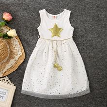 2017 Toddler Kids Baby Girls Star Sleeveless Princess Dress Star Pentagram Mesh Layered Bridesmaid Party Pageant Tutu Dress