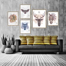 Abstract Animals Head Deer Horse Elephant Lion Eagle A4 Canvas Art Painting Wall Pictures For Living Room Home Decor No Frame(China)