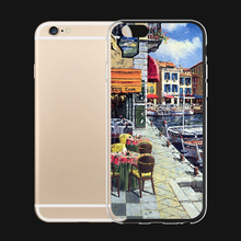 Fishing Port Market Oil Painting 6 Choices For iPhone 6 6s 7 Plus Case TPU Phone Cases Cover Mobile Protection Decor Gift(China)