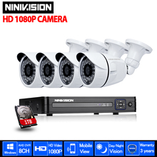 Security Camera system CCTV 8CH AHD DVR Kit 1080P 2.0MP CCTV Outdoor CCD Sesnor Bullet waterproof mobile phone viewing