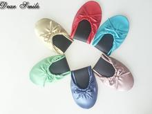 Free shipping ! Hot selling lady portable ballerina confortable flat ballerina shoes with bag(China)